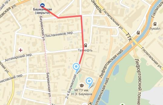карта прохода от мбауманская до мгту